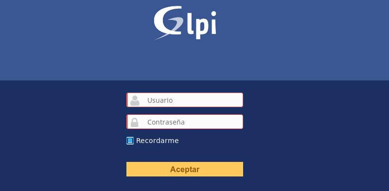 Ventana en la que se puede acceder a la aplicación GLPI