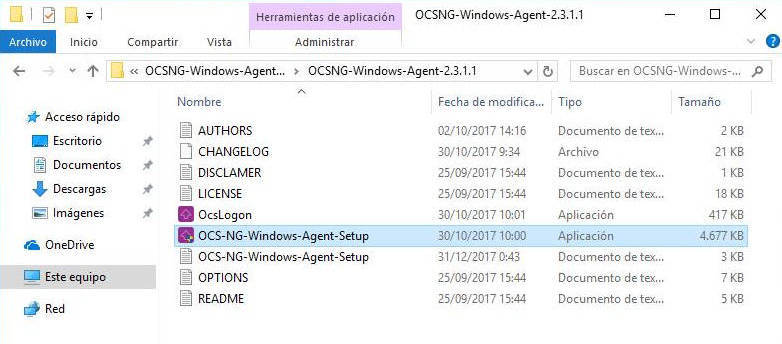 de instalación de OCS Inventory Agent para Windows