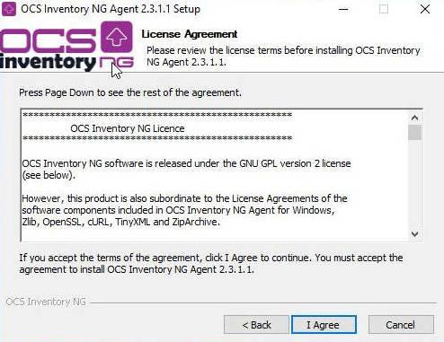 Ventana de aceptación de la licencia del agente OCS