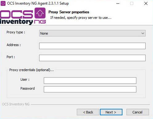 Ventana de configuración del proxy que permita acceder a OCS