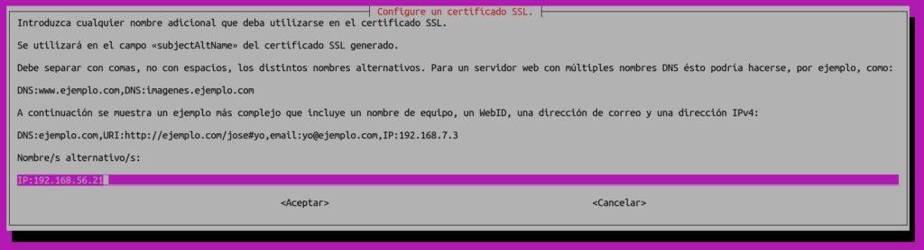 Ventana en la que definimos nombres adicionales para el certificado digital